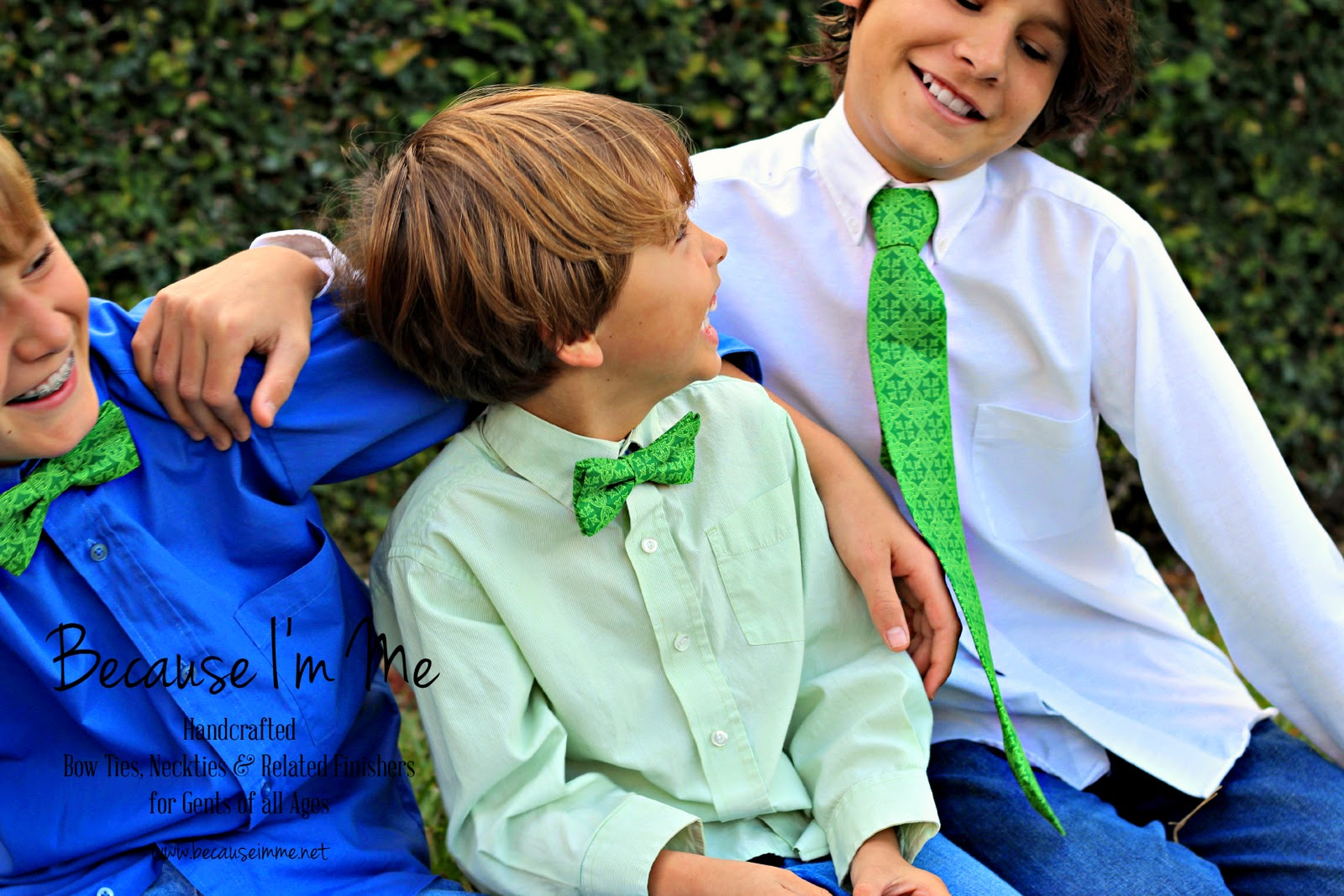 Celtic Green Bow Ties and Neckties for St. Patrick's Day, available for both men and boys