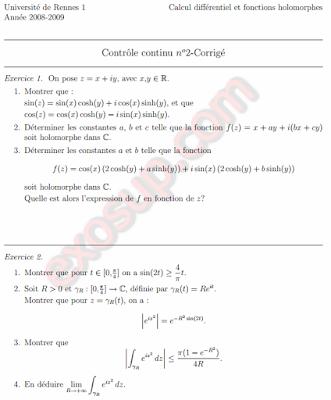 Calcul différentiel et fonctions holomorphes Contrôle Corrigé ur1