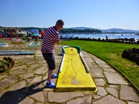 One of the most picturesque views in Minigolf. Playing the Crazy Golf course in Millport on the Isle of Cumbrae in July