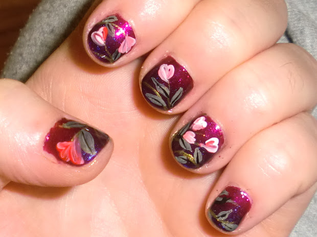 love4nailart cute floral valentine's