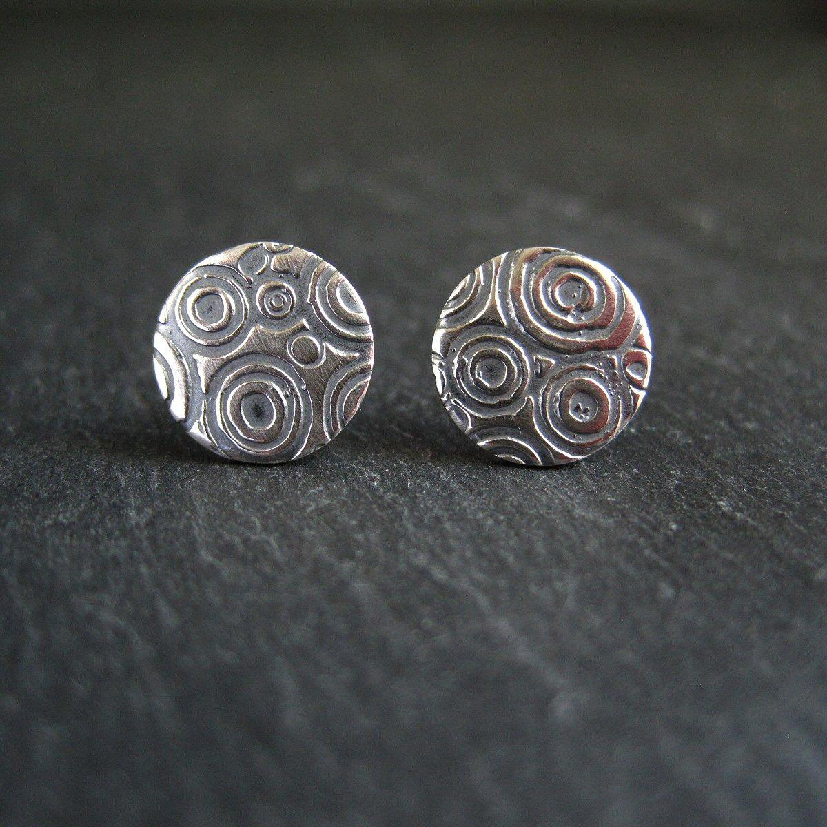 sterling silver embossed stud earrings © Cinnamon Jewellery 2015