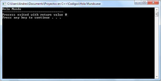 Salida en Pantalla - Hola Mundo en C++
