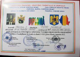 """Diploma obţinută de Mihaela Popa, (a VIII-a A ) la Concursul Naţional """"Unirea Principatelor"""", 2011"""