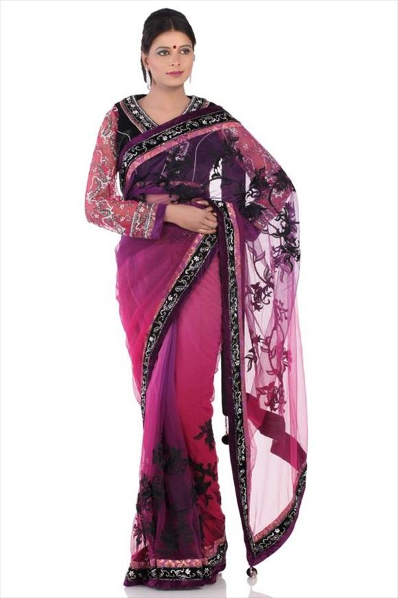 latest Bright Violet Net Saree