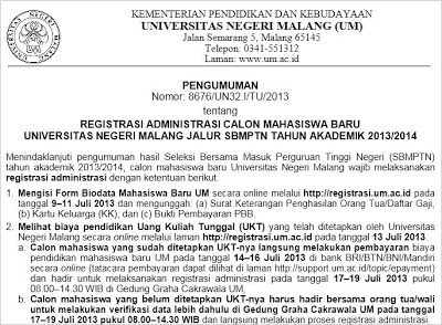 Daftar Registrasi SBMPTN UM 2013/2014