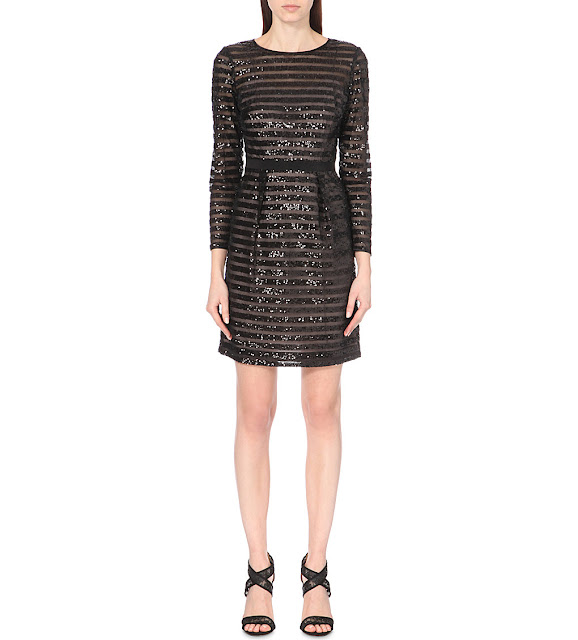 karen millen sequin stripe dress, black sequin stripe dress,
