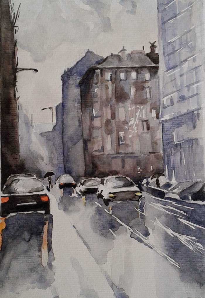 urban landscape watercolor