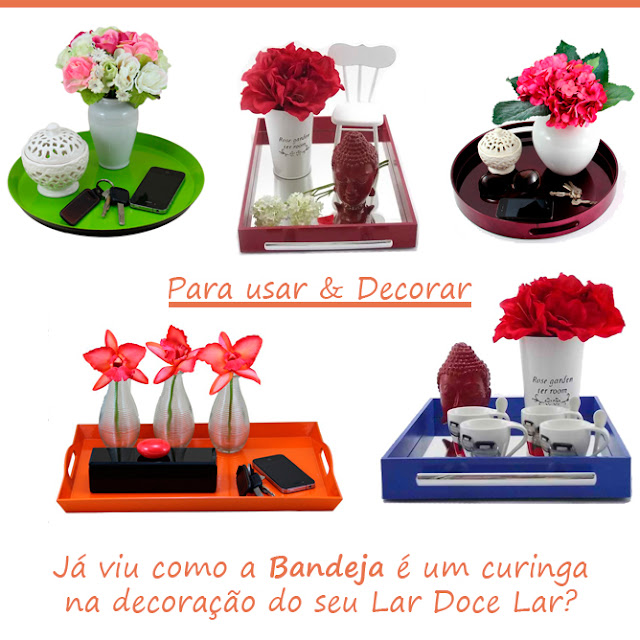 como usas bandejas na decoração, bandejas coloridas, bandeja com espelho, bandeja na mesa de centro
