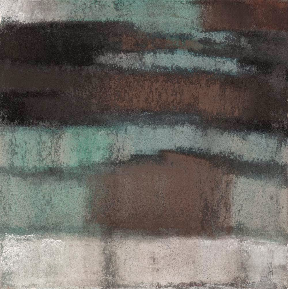 layers of brown and turquoise original abstract pastel painting drawing artist janine aykens