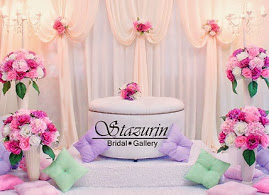 Pelamin Nikah Warna Pastel Dusty Pink+Purple/Mini Pelamin Tirai+Bangku Bulat Eksklusif