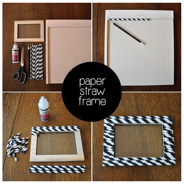 Fotolijstje met papieren rietjes