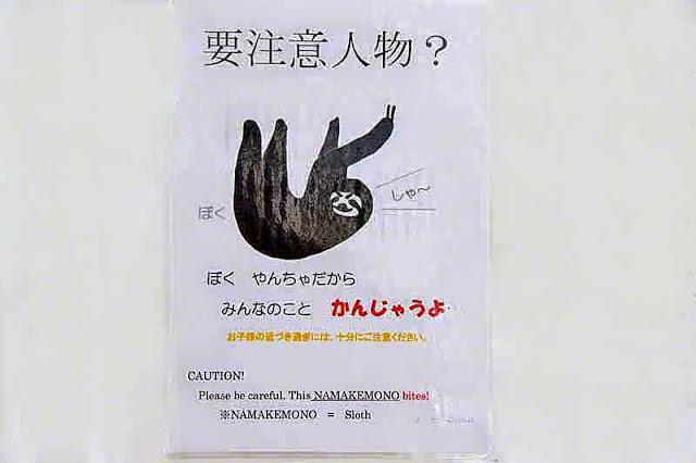 sign, English, Japanese, sloth bites, caution