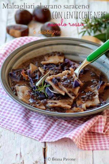 maltagliati al grano saraceno con lenticchie nere, cavolo rosso e castagne