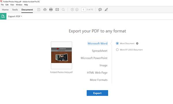 export pdf to any file format from adobe acrobat dc