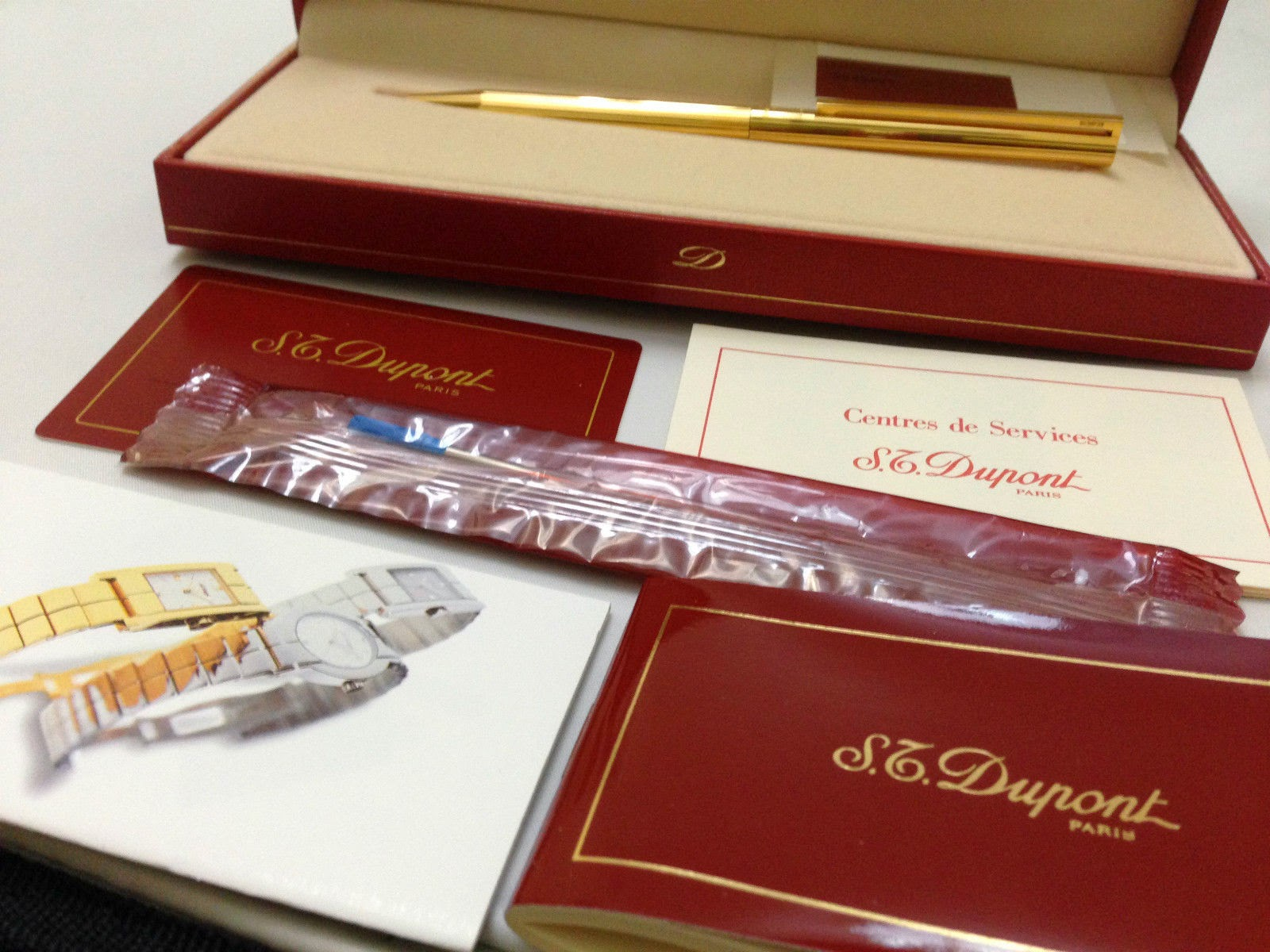 S.T.Dupont 24k Gold Plated Lined Ball Point France Complete Brand NEW