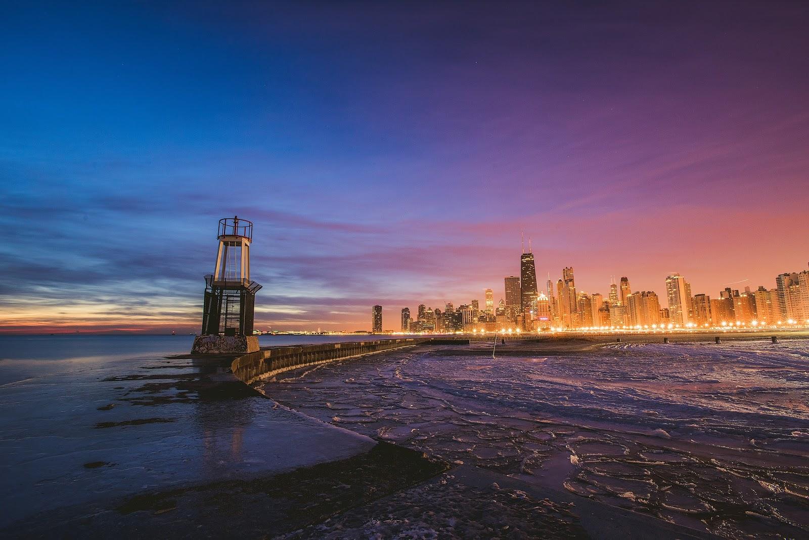 Chicago Skyline Winter Sunrise Photo