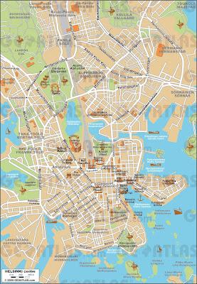 Mapa de Helsinque - Finlândia