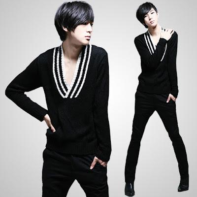 Model Sweater Pria Korea Desain V neck