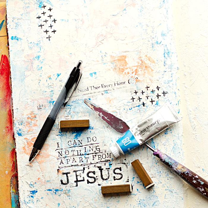 Mixed Media Art Worship Journal | I Need Thee Every Hour Hymn