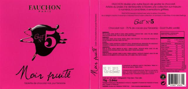tablette de chocolat noir dégustation fauchon goût n° 5 noir fruité