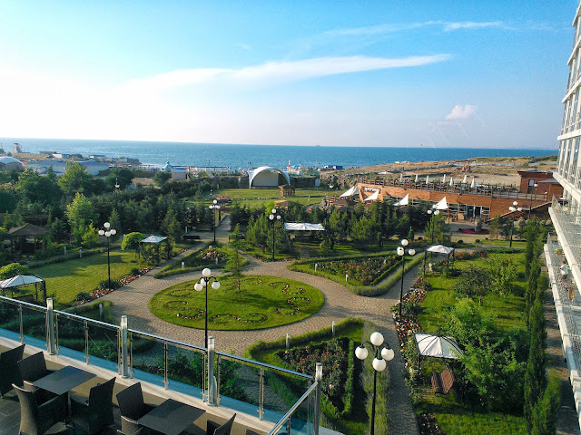 Coffee break  and nice view towards Aquamarine's garden and Black sea