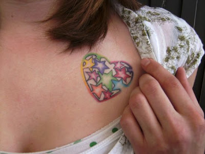 start tattoos designs in colorful heart and bring loving and caring styles of girls.