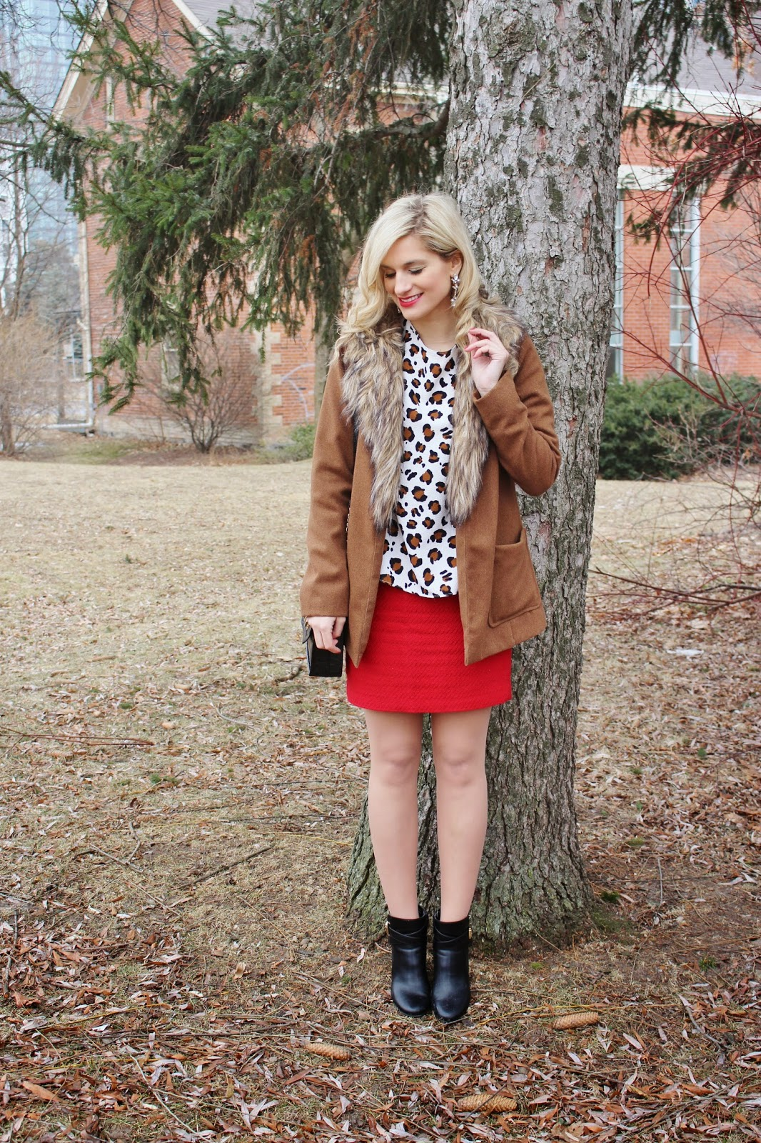 bijuleni - animal print top and red skirt