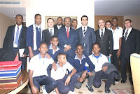 Somali students with President Mohamud