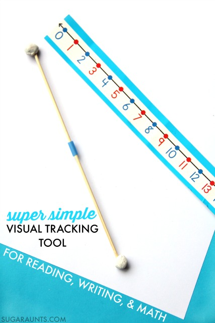 This visual tracking tool will help kids with handwriting, reading, and math problems, including visually tracking difficulties (pursuits).
