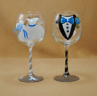 Personalized Hand Painted Toasting Glasses for Bride and Groom