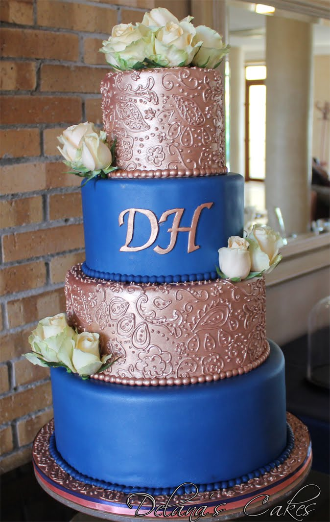 Delana S Cakes Rose Gold And Blue Paisley Piping Wedding Cake