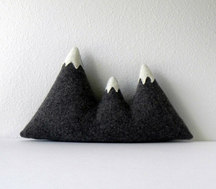mountain cushion in grey and white