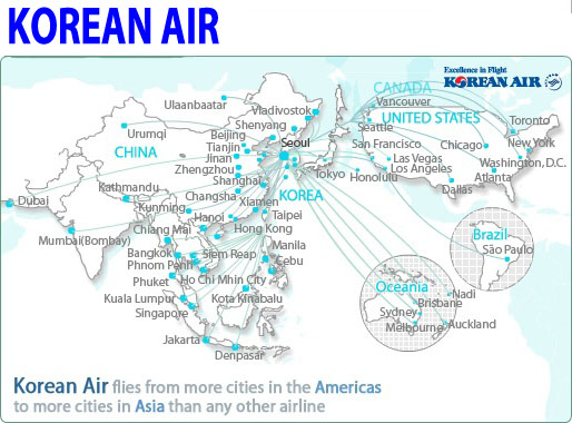 international flights korean air route map