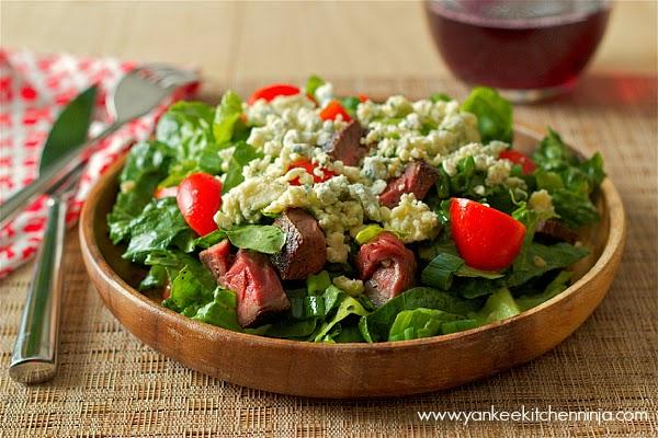 blackened blue steak salad