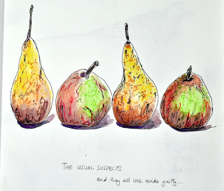 Ink and watercolour pears
