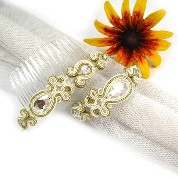 Grzebień ślubny sutasz ivory z bransoletką