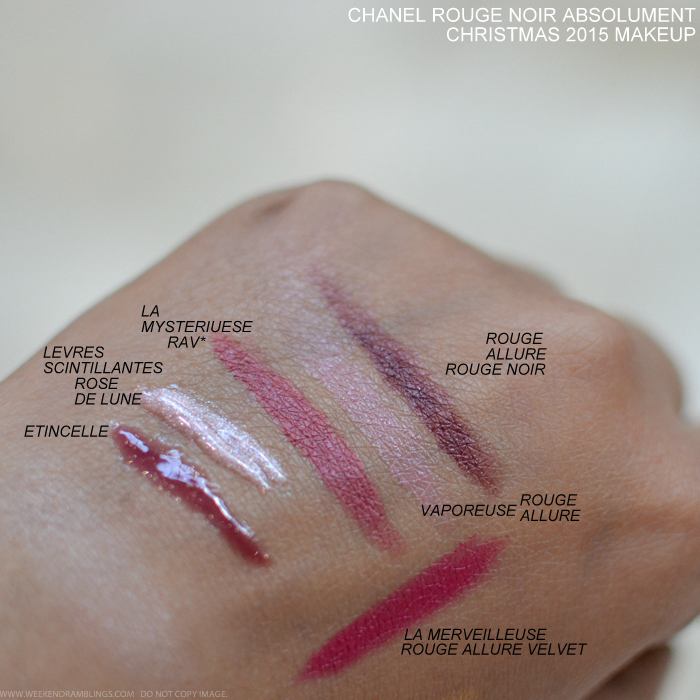 Chanel Rouge Noir 109 Absolument Vamp Attitude Holidays 2015 Makeup Collection Swatches Levres Scintillantes Glossimer Lipgloss Etincelle 487 Rose de Lune 477 Rouge Allure Velvet Lipsticks La Merveilleuse 347 Vamporeuse Vaporeuse 237 La Mysterieuse 53