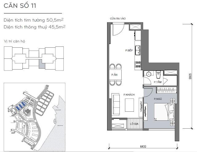 Căn hộ Vinhomes Central Park 4, 5, 6 - Kiểu nhà số 11 - 50.5m2 - 1PN