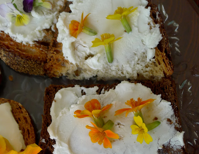 Edible Flower and Soft Cheese Appetizer
