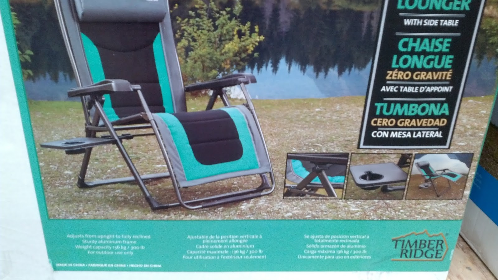 Costco 918343 - Timber Ridge Zero Gravity Chair comes with side table and fully reclines