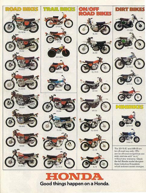 Racing Caf U00e8  Vintage Brochures  Honda Full Line Catalog 1974