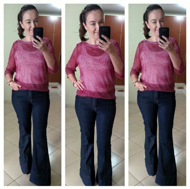 calça jeans flare, calça lojas renner, blog de moda em ribeirão preto, blusa vermelha poá, fashion blogger