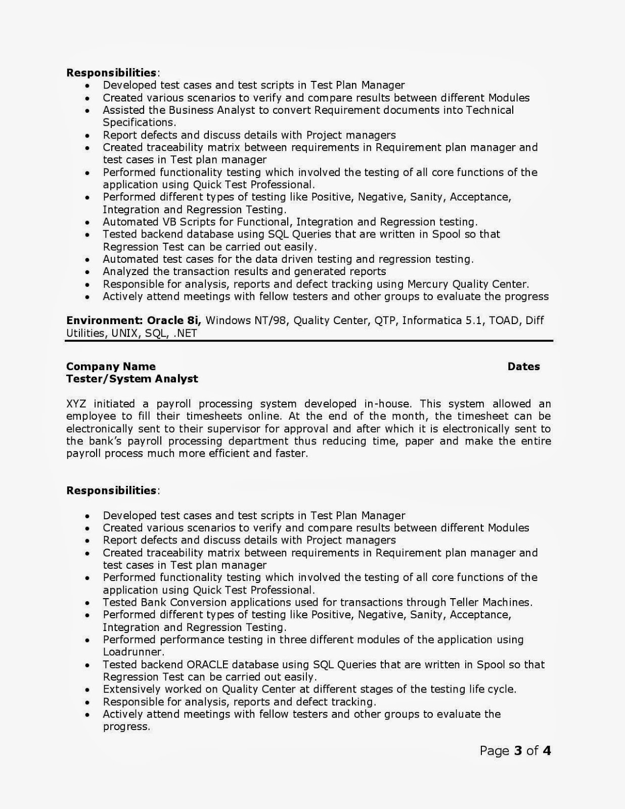 Resume for quality assurance analyst vatozozdevelopment recent posts spiritdancerdesigns