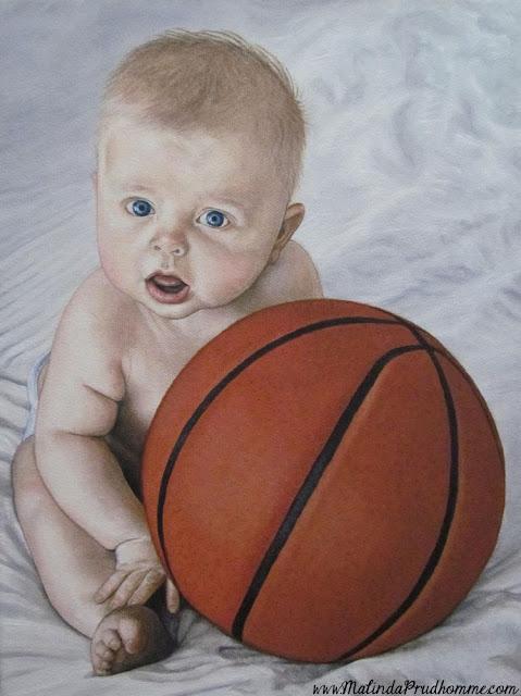 baby portrait, baby painting, portrait artist, portrait painting, child portrait, baby basketball, original artwork, custom artwork, commission artwork