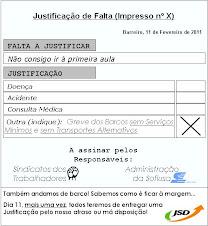 JUSTIFICA A TUA FALTA POR CAUSA DA GREVE!