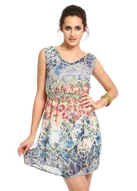 bol kesim desenli yazlık elbise
