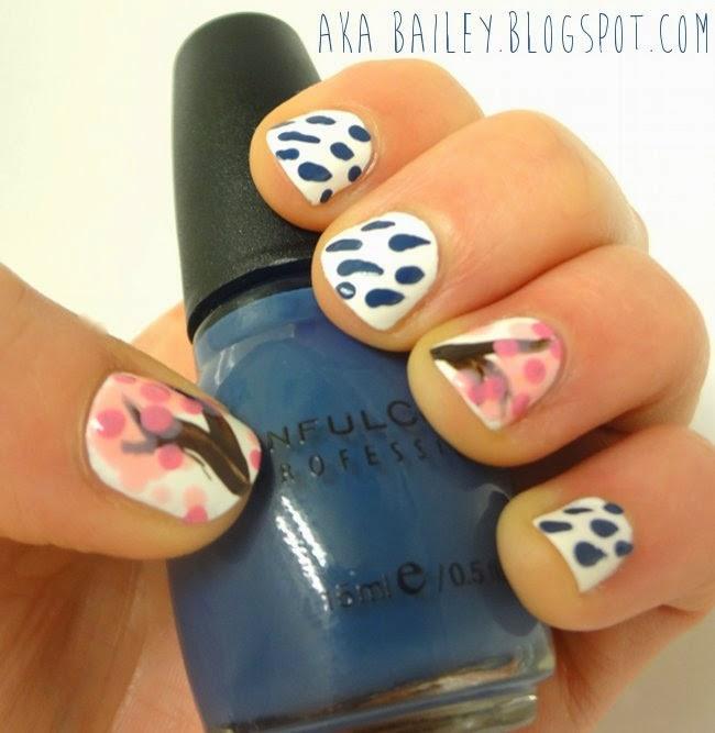 Rainy nails and cherry blossom nails