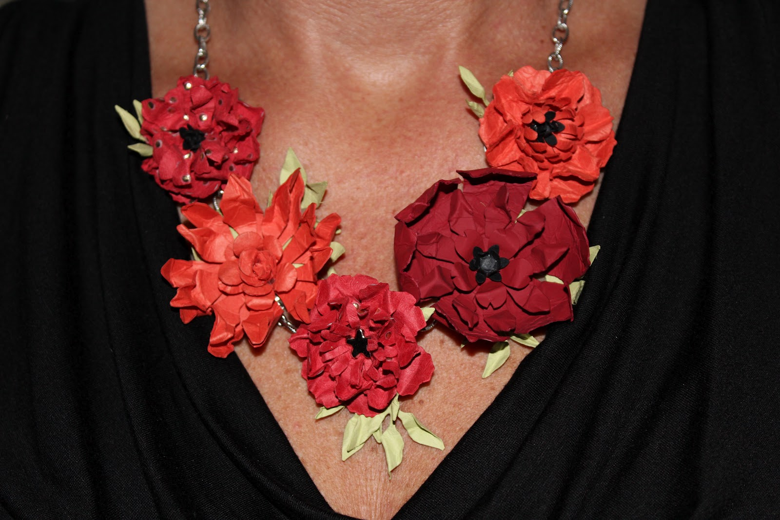 Cape cod scrapper paper flower necklace paper flower necklace mightylinksfo