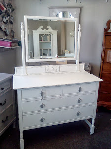 Vintage Painted Dresser with Mirror Distressed