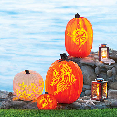 Coastal Living nautical pumpkins